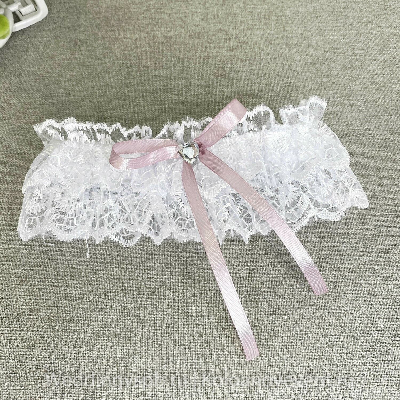 Подвязка белая с розовым бантиком