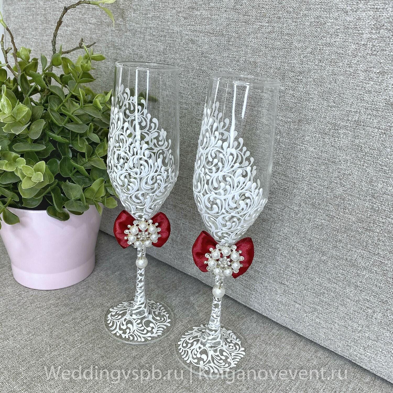 Свадебные бокалы (марсала бантик)