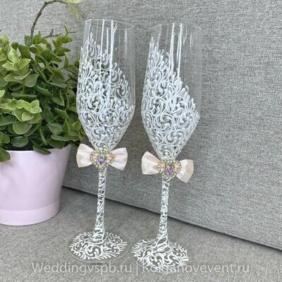 Свадебные бокалы (персиковый бантик)