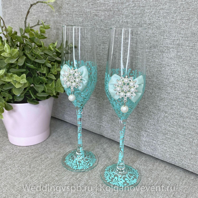 Свадебные бокалы (мятные)