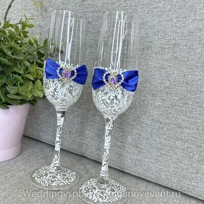 Свадебные бокалы (синий бантик)