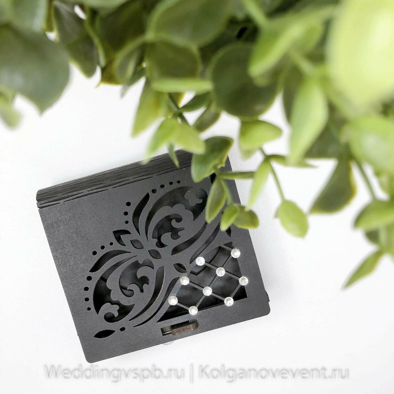 Шкатулка под кольца (черная, стразы)