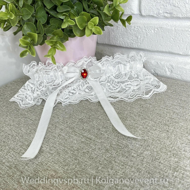 Подвязка белая ручной работы