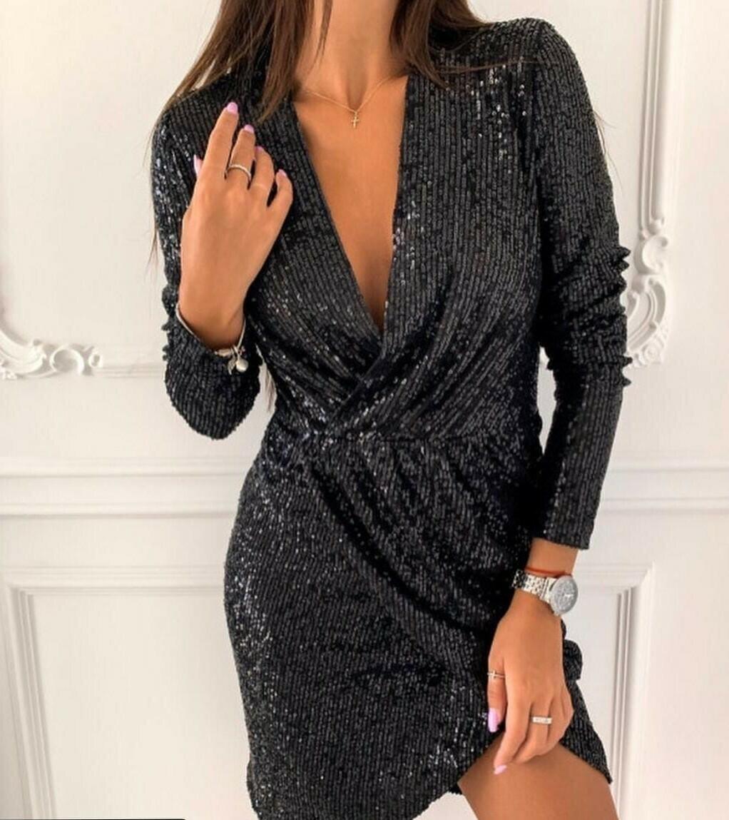 Вечернее платье черное - пайетки