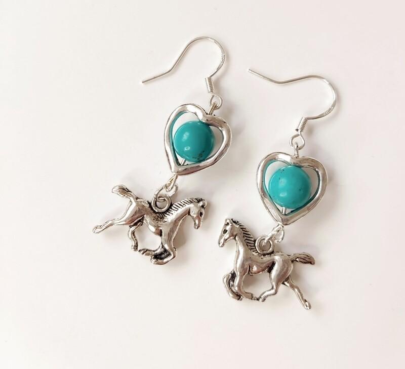 OTOE heart horse earrings