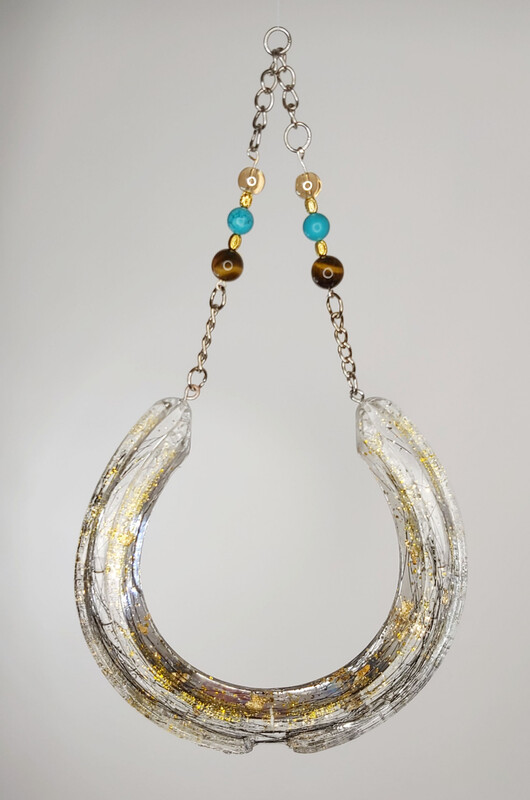 COLBY horse hair in resin Horseshoe with gemstones