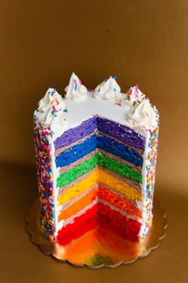 "6""  6 layer Rainbow Party Cake"