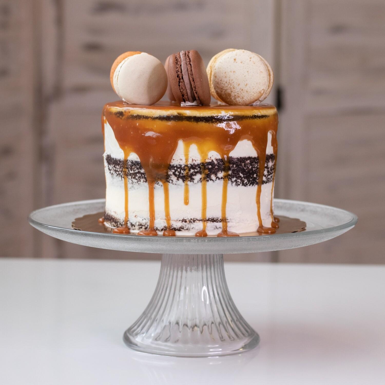 Salted Caramel Chocolate Macaron Cake