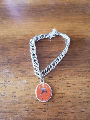 Brownie 1975 charm bracelet.  Silver plate