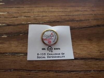 Cadette Social Dependability Challenge Pin 1963-1980