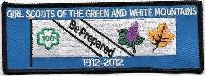 100th Anniversary Patch Green and White Mountains
