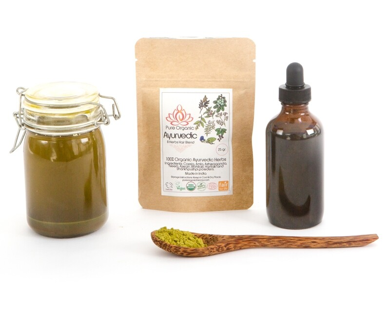 Pure Organic Ayurvedic 8 Herb Hair Blend