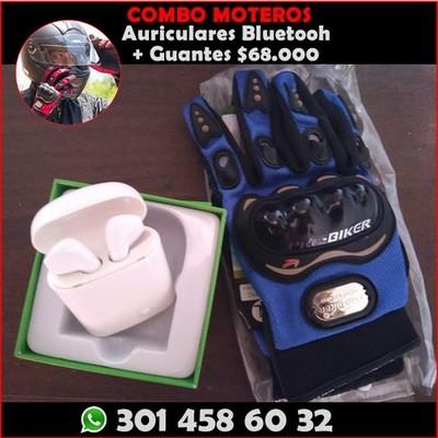 Prácticos Auriculares Bluetooth tipo AirPods + Guantes Pro Biker