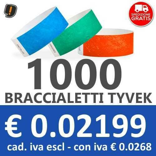 🔝 1000 Braccialetti Tyvek® - SPEDIZIONE GRATIS
