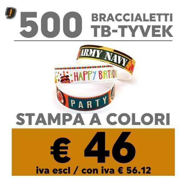 🔝 500 Braccialetti TB-Tyvek® Stampa a Colori   SPEDIZIONE GRATIS