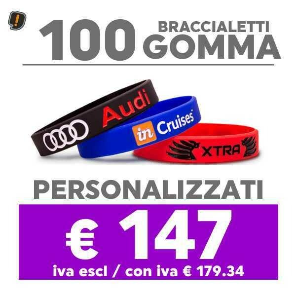 🔥 100 Bracciali Gomma Personalizzati SPED GRATIS