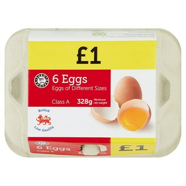 Euro Shopper 6 Eggs of Different Sizes 328g PM £1