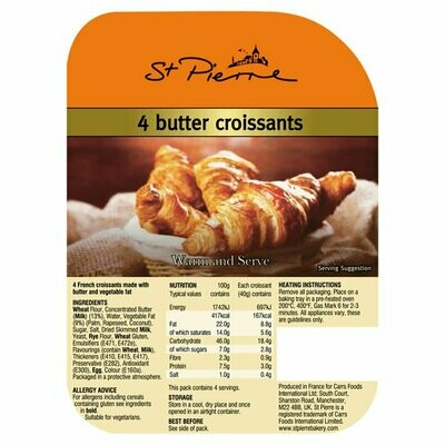 St Pierre Pack Of 4 Butter Croissants