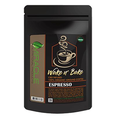 Wake N Bake CBD Organic Ground Coffee Espresso 300mg