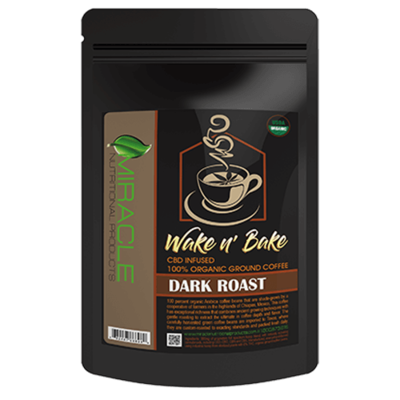 Wake N Bake CBD Organic Ground Coffee Dark Roast