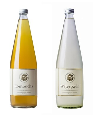 Mixed box of 12 - Kombucha 750ml x 6, Water Kefir 750ml x 6