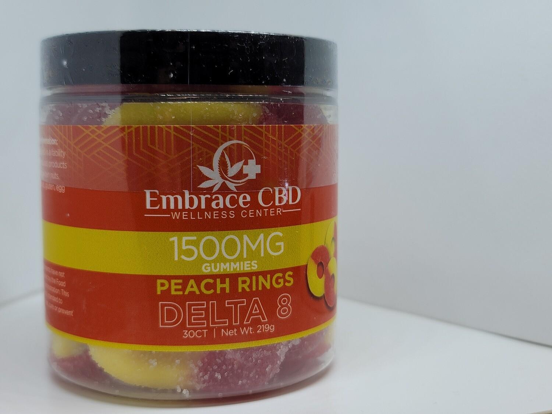 EMBRACE CBD 1500mg Delta 8 Gummies (Peach Rings)!