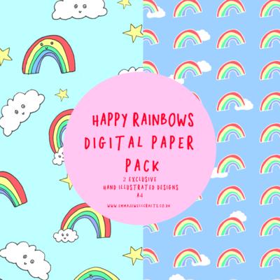 HAPPY RAINBOWS DIGITAL PAPER PACK