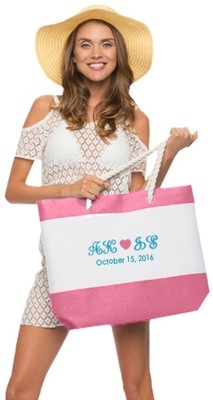 GO PINK NAUTICAL BEACH TOTE BAG
