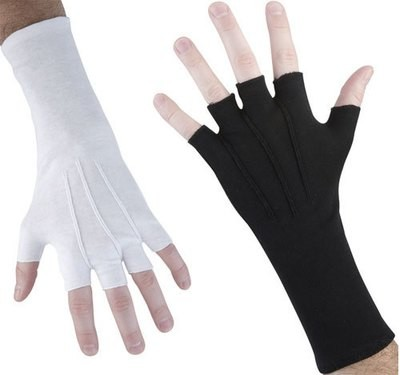 LONG WRISTED FINGERLESS COTTON GLOVES