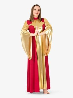 WOMENS 2-TONE METALLIC WORSHIP DRESS
