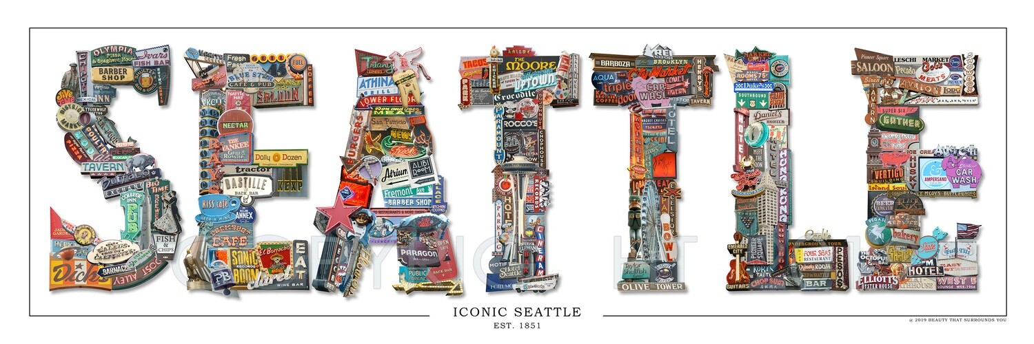 Lettered Iconic Seattle