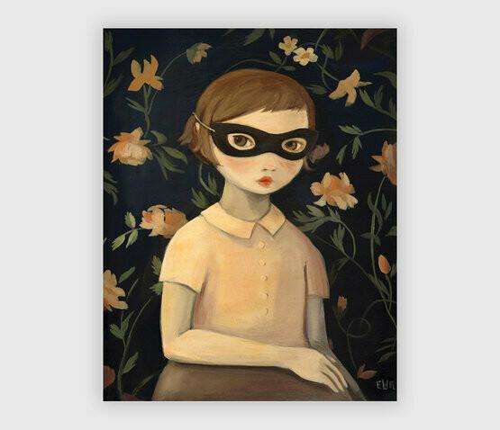 Masked Evaline with Floral Wallpaper