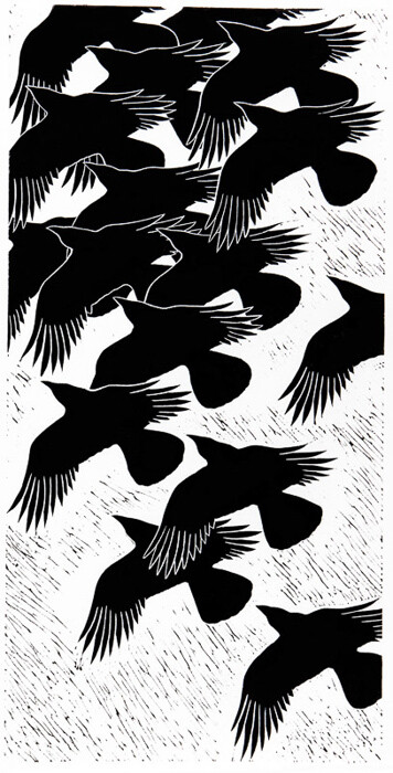 Crows in Flight