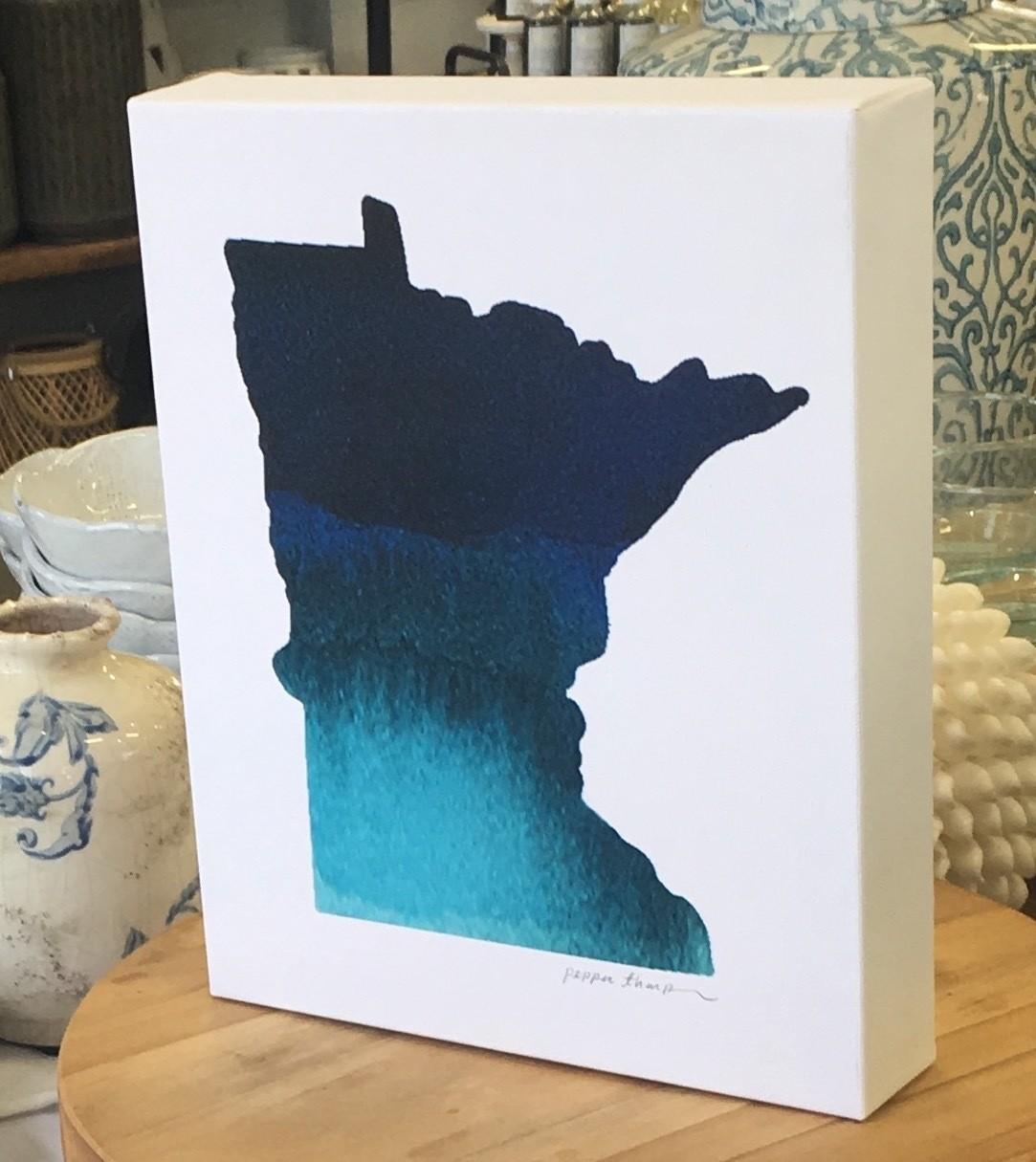 Minnesota Blue State on Canvas