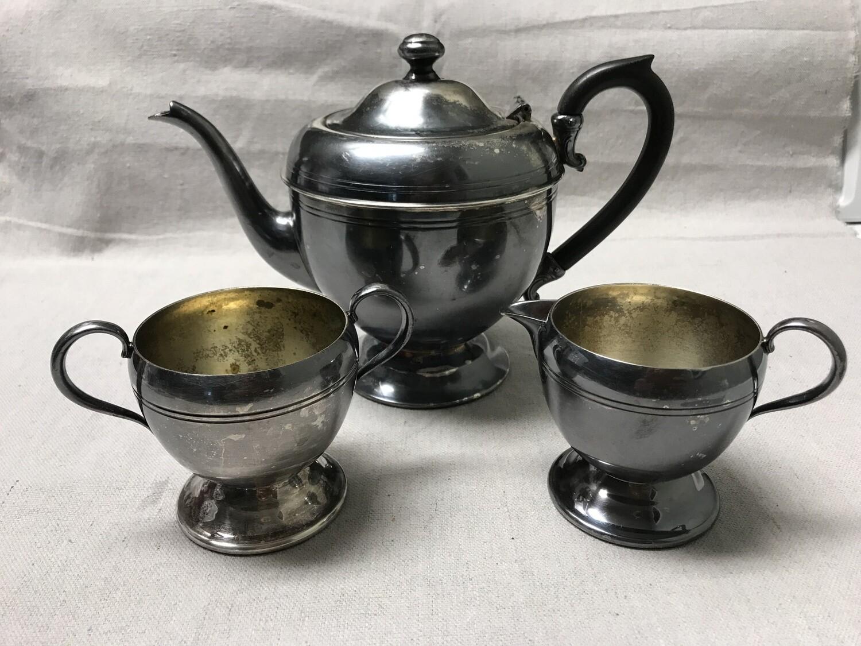 WM A Rogers Silverplate Black Bakelite Handled Tea Set #1052