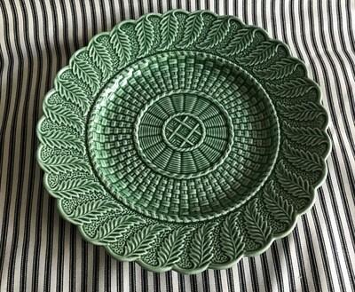 Vintage Bordallo Pinheiro Basketweave Green Round Plate