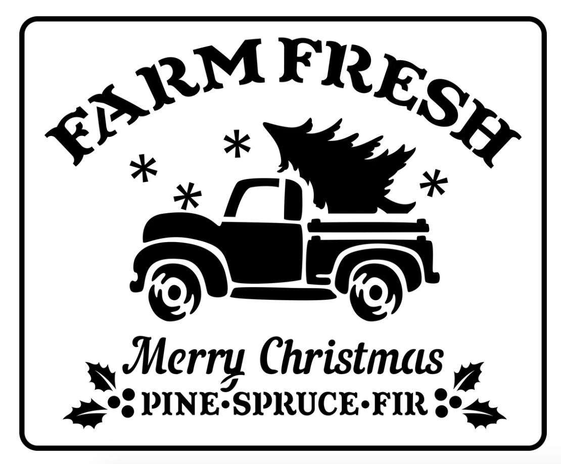 JRV Farm Fresh Christmas Truck Stencil