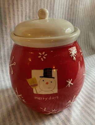 Hallmark MERRY DAYS Red Snowman Cookie Jar