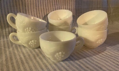 Westmoreland Milk Glass Punch Bowl Cups - Set of 6