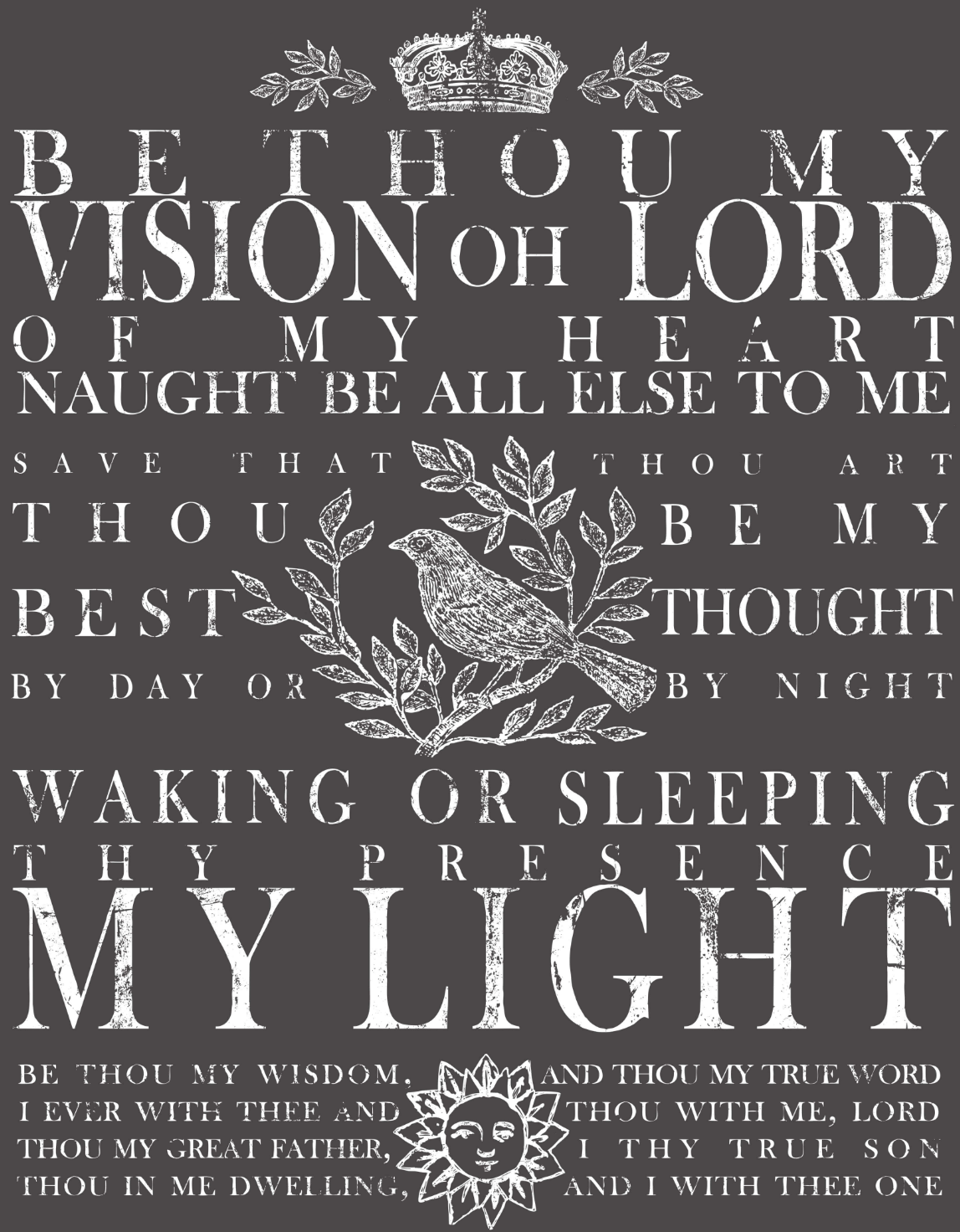 IOD BE THOU MY VISION 24×33 DECOR TRANSFER