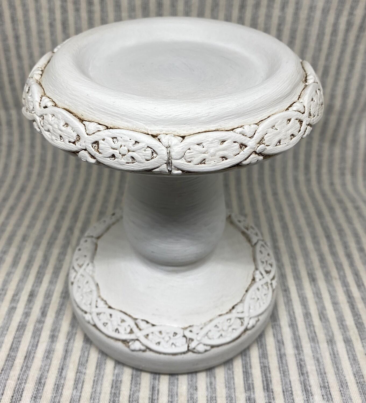 Rustic White Ceramic Candlestick Holder