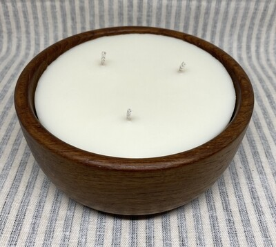 Hibiscus Palm Teak Wood Bowl Soy Candle 18oz