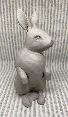Rustic Gray Ceramic Rabbit Figurine