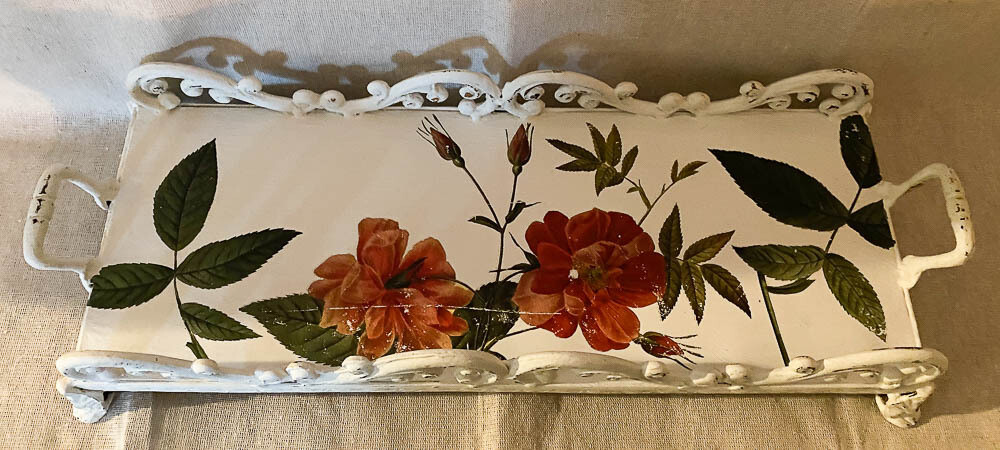 French Country Inspired White Floral Metal Tray