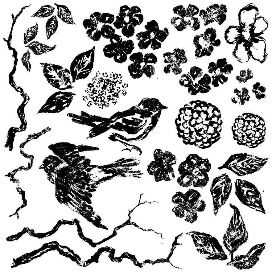IOD BIRDS BRANCHES & BLOSSOMS 12×12 DECOR STAMP