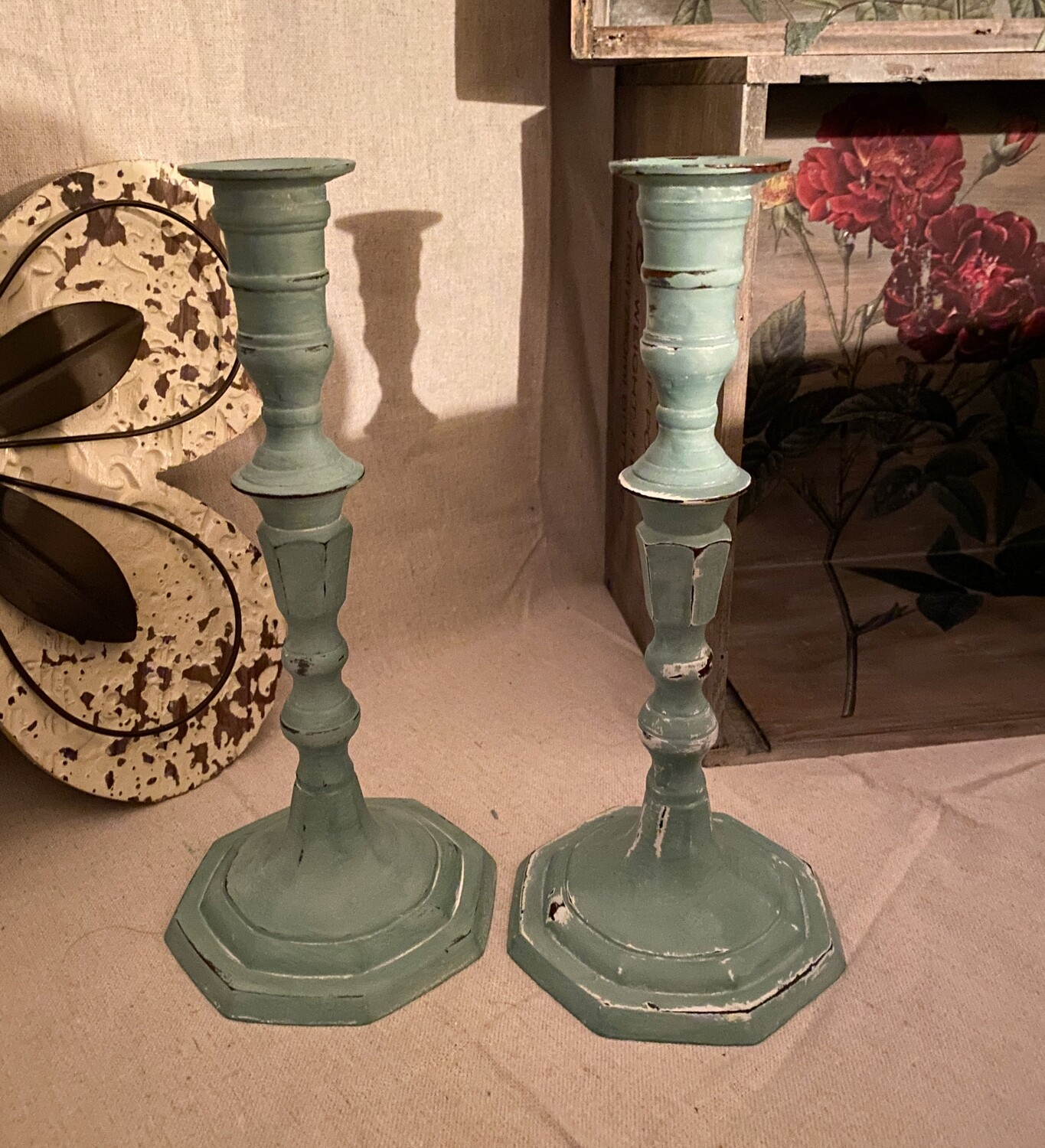 Pair Metal Distressed Candlesticks