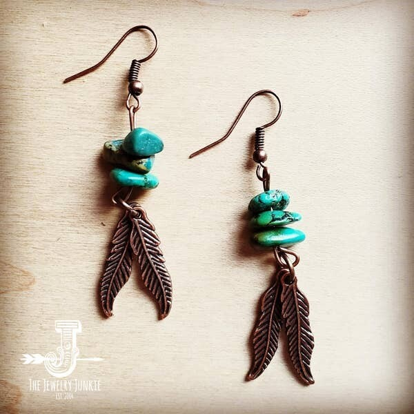 The Jewelry Junkie Natural Turquoise and Copper Feather Earrings