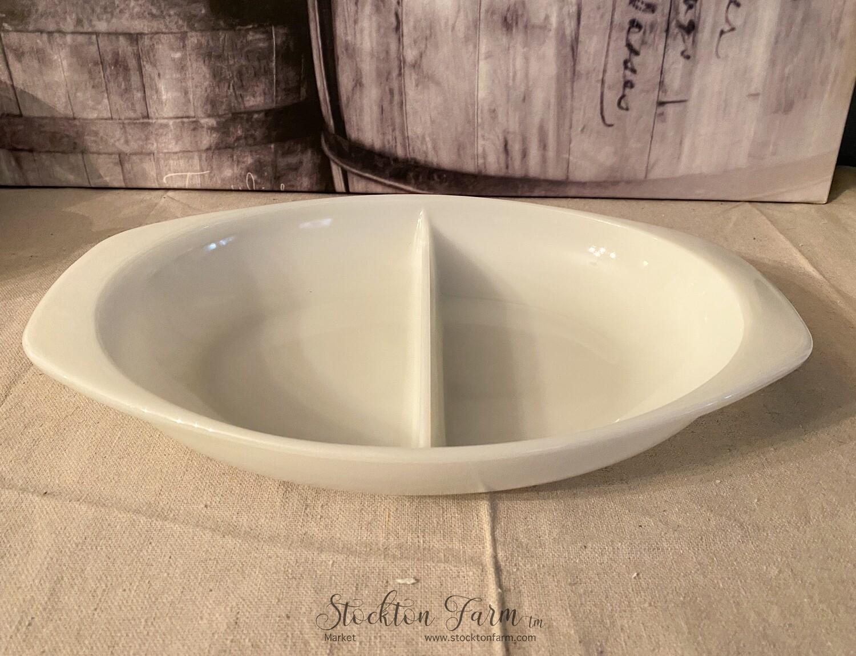 "Pyrex Milk Glass 13"" Oval Divided Vegetable Bowl"