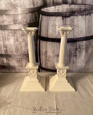 Elegant Ivory Ceramic Candlestick Holder Pair