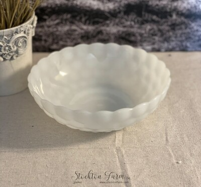 Anchor Hocking Bubble Milk Glass Vegetable Bowl